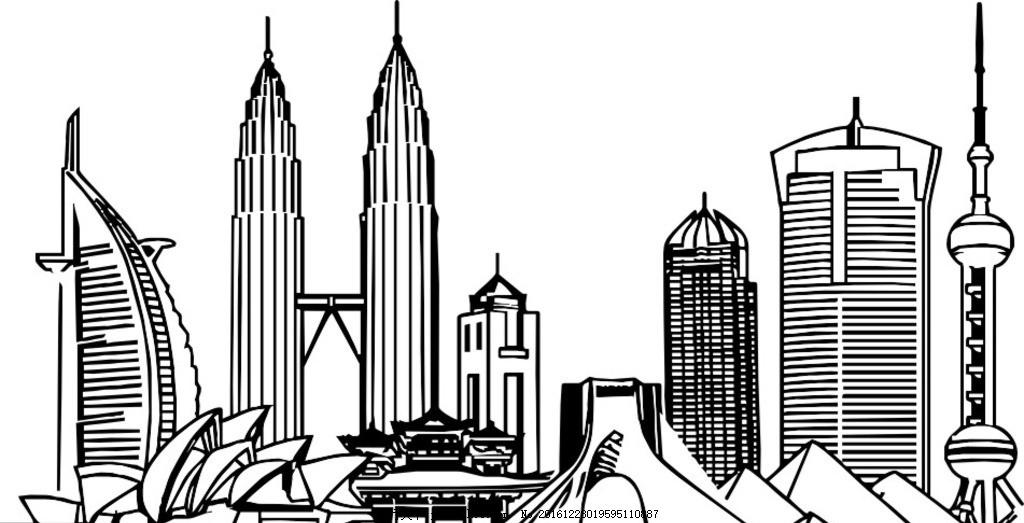 城市 建筑 黑白 矢量图 都市 人文景观 自然 建筑 设计 文化艺术 其他