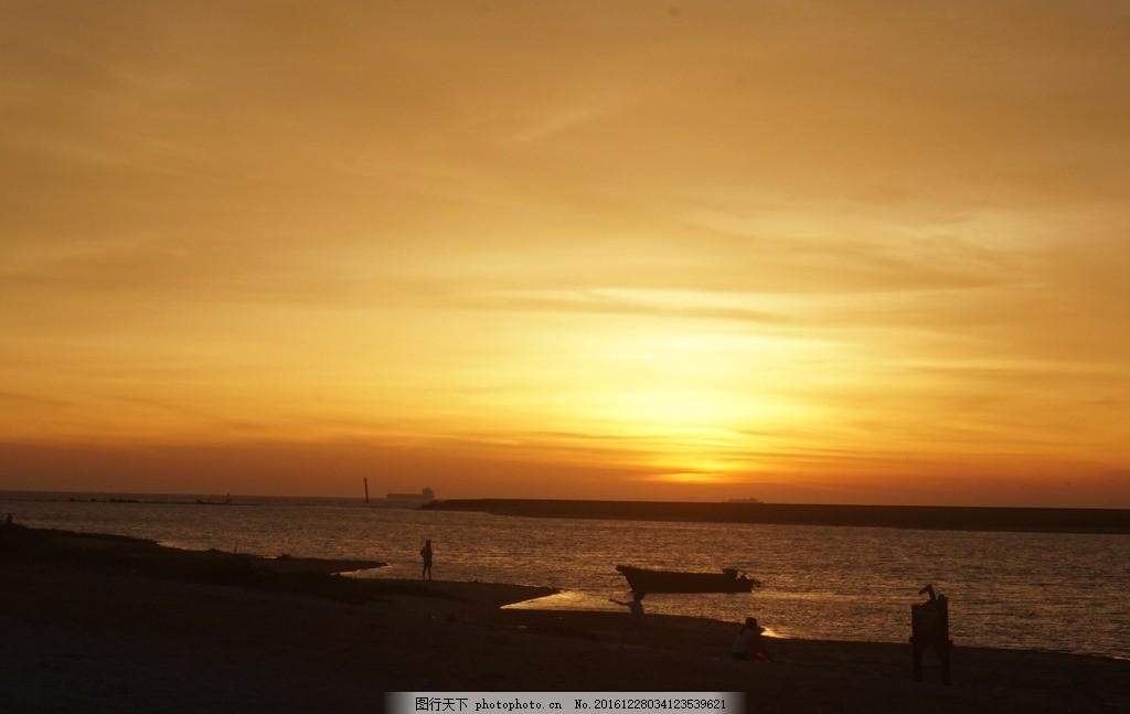 夕阳西下 夕阳 晚霞 海南 海边 小船 渔船 海滩 摄影 自然景观 自然