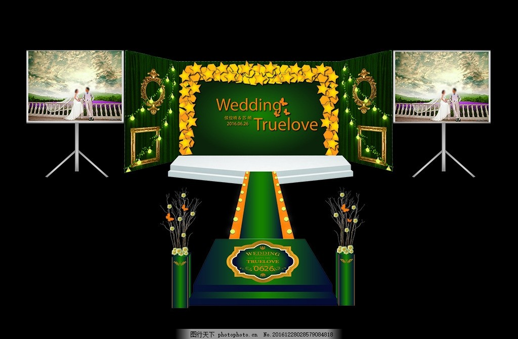绿色背景婚礼 绿色奇幻森林 主题婚礼婚庆 森林婚礼 神奇森林婚礼