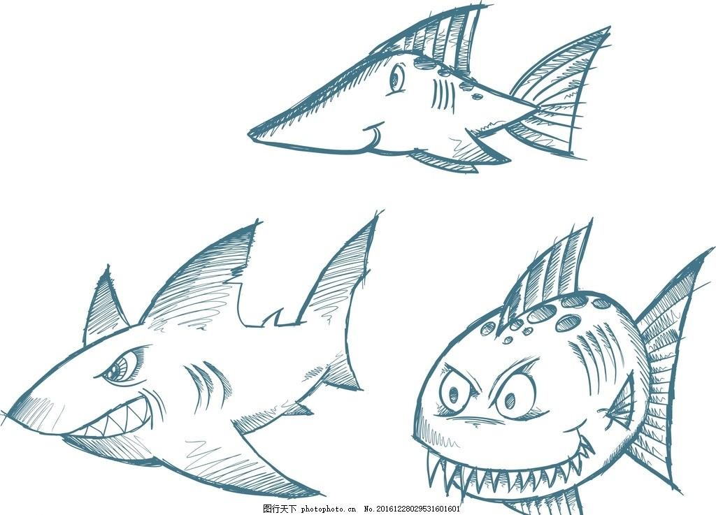 鲸鱼,可爱 素描 线条 矢量素材 手绘素材 儿童素材-图