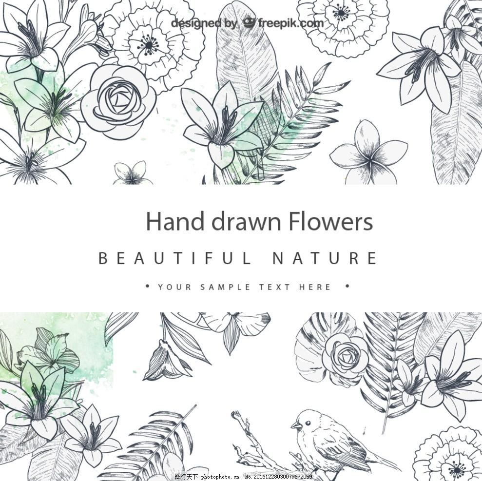 小清新花背景 彩绘 手绘 植物 花卉 瓢虫 波斯菊 装饰 矢量图 油画