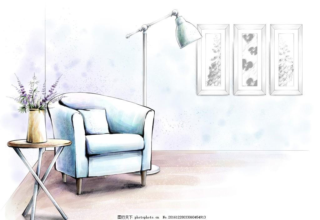 室内装饰手绘 室内 装饰 手绘 清新 沙发 设计 psd分层素材 psd分层素