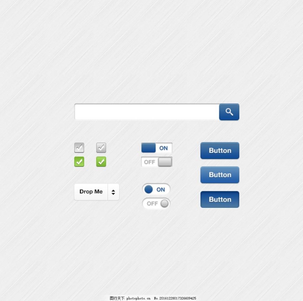 扁平化风格网页设计元素 按钮 用户控件 图标 登录界面 手机界面