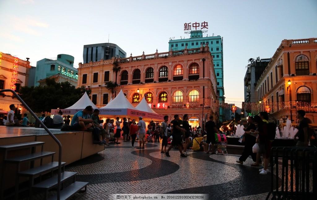 澳门夜景 澳门傍晚 澳门新中央 澳门街头 澳门 风景名胜 摄影 旅游