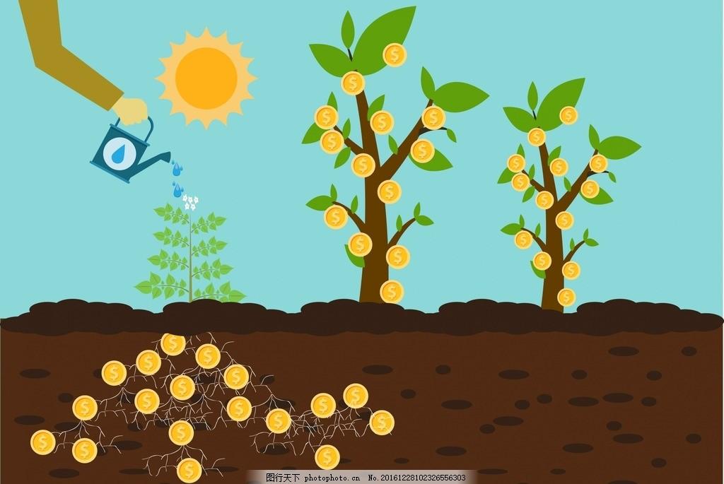 植树节图片 植树 小树 浇花 土壤 卡通设计 设计 广告设计 卡通设计