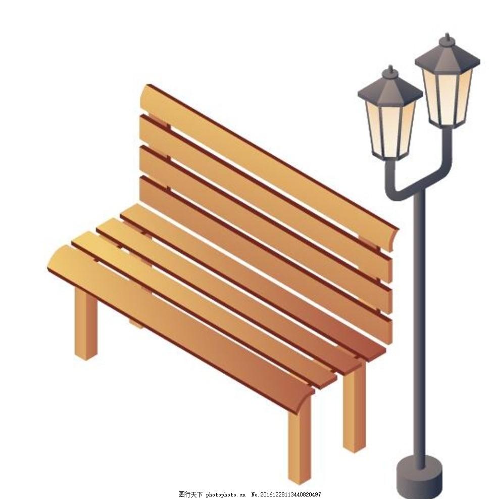 座椅 城市座椅 世纪公园 木座椅 休闲座椅 路灯 矢量 建筑矢量 设计