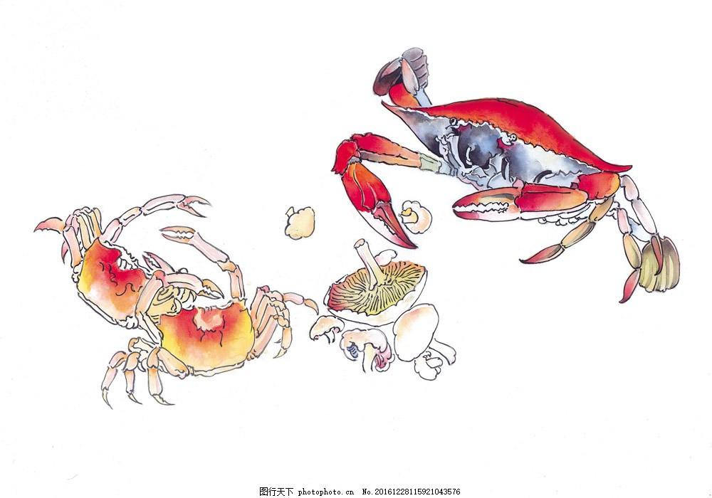 高清手绘螃蟹图片