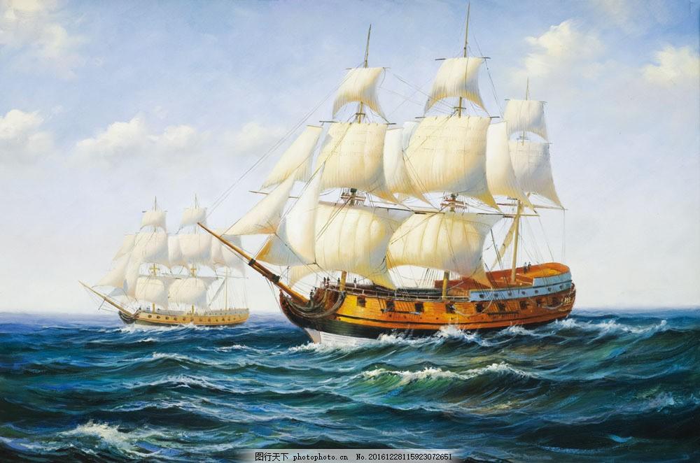 海上帆船油画图片