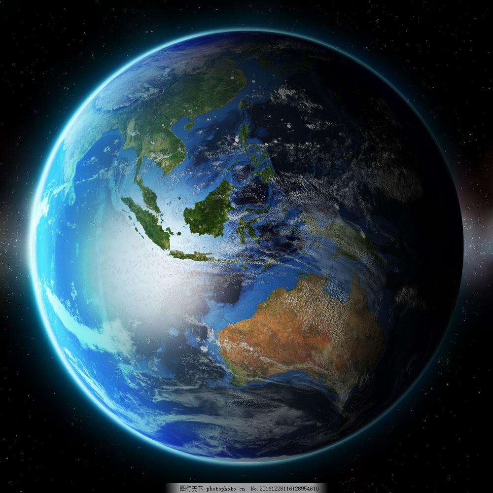 蓝色海洋地球 蓝色海洋地球图片素材 星球 星空 球体 绿色地球
