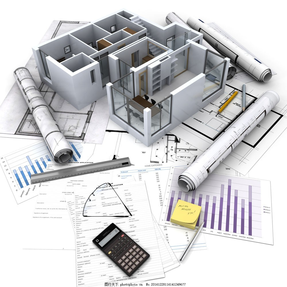 图纸与3d建筑图片