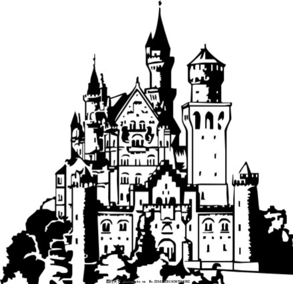 城堡 建筑 人物景观 欧式 中世纪 矢量图 黑白 自然 建筑 设计 文化
