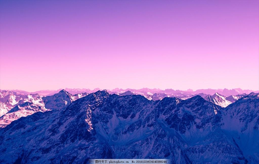 群山 紫色 天空 雪山 平视 俯视 风景 摄影
