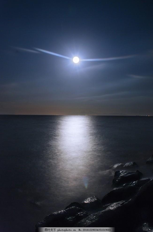 中秋月亮 夜空 圓月 大海 海邊賞月 閃亮 皎潔月光 皓月當空 自然景色