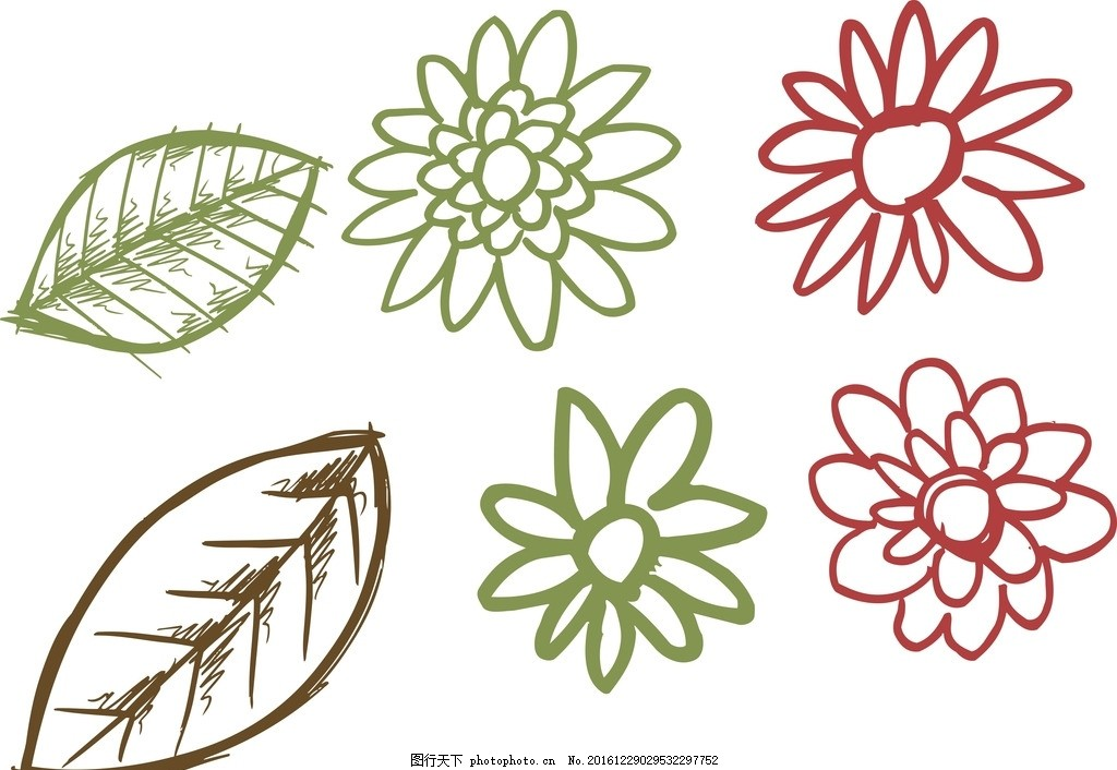 线条树叶 花朵 卡通花朵 线条花朵 花朵简笔画 树叶简笔画 儿童简笔画