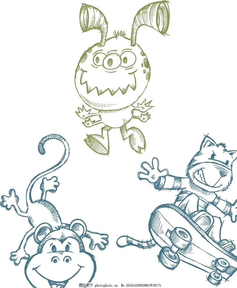 卡通简笔画 涂鸦 手绘 素描动物 卡通动物 矢量动物 线条动物 小狗