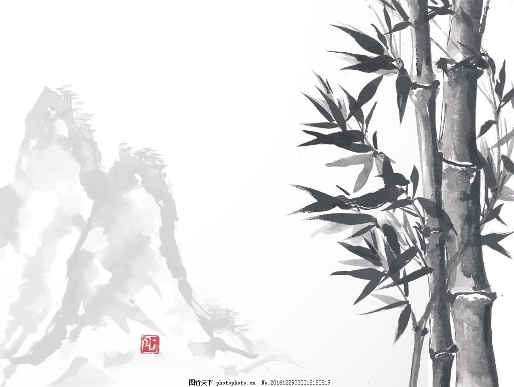 竹子国画 装饰画 中堂画 水墨文化 中国风 风景画 国画竹子画 水墨