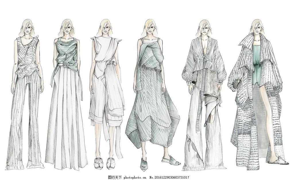 服装效果图 时装画 款式图 服装设计 服装设计工程 服装设计稿 时装