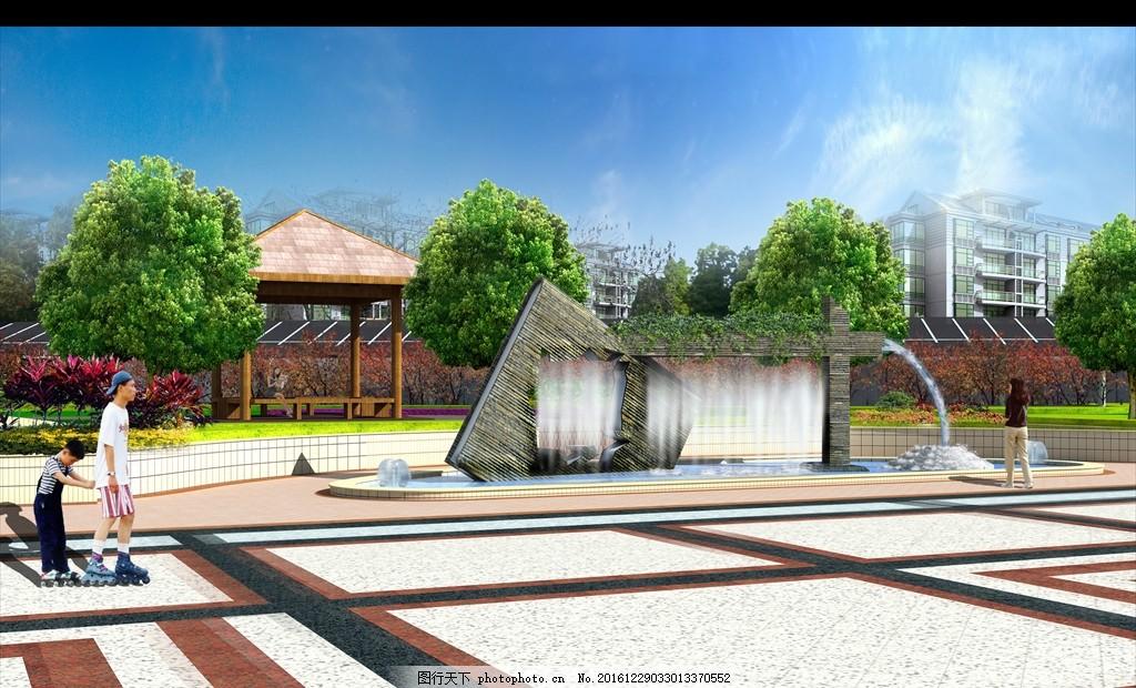 水景雕塑 园林 效果图 喷泉 跌水 水幕 景观墙 原创 创意 原创设计