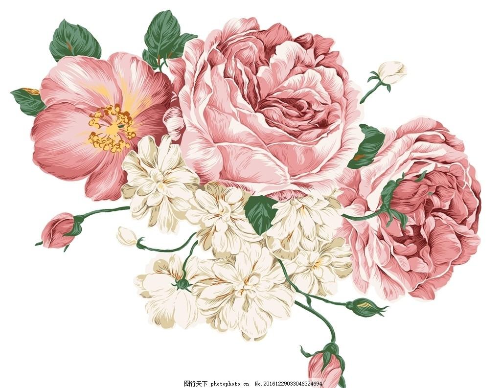 手绘牡丹花 手绘 花 素材 背景 牡丹 花藤 高清 psd分层素材 大气