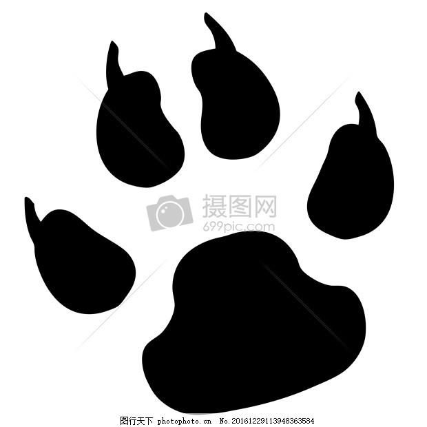白底爪子印贴图 爪子印 狗 宠物 动物 轨道 马克 黑白底 虎蹄子印