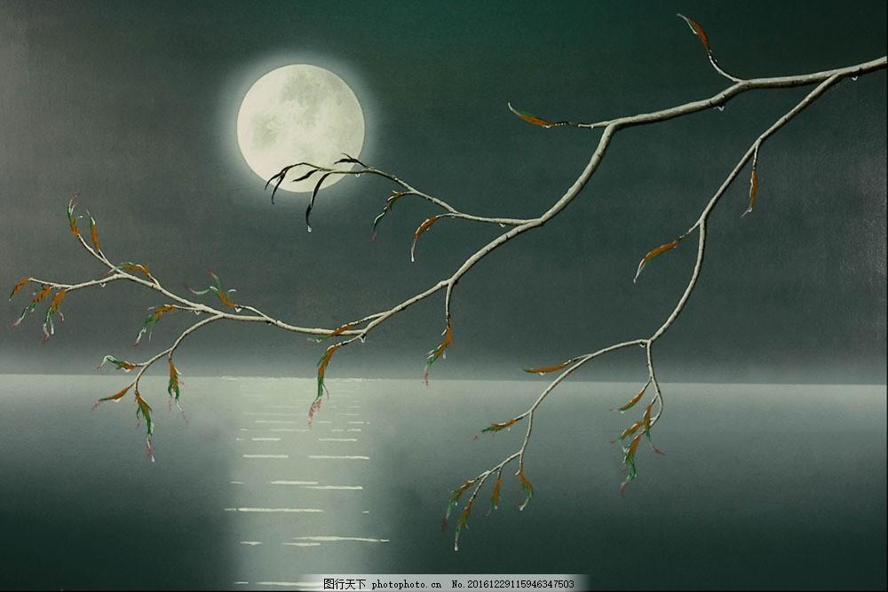 油画湖泊月亮图片素材 夜景写生 名画 油画 艺术 绘画 文化艺术 艺术