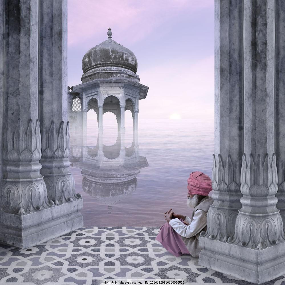 印度建筑柱子与印度人 印度建筑柱子与印度人图片素材 木船 美丽风景