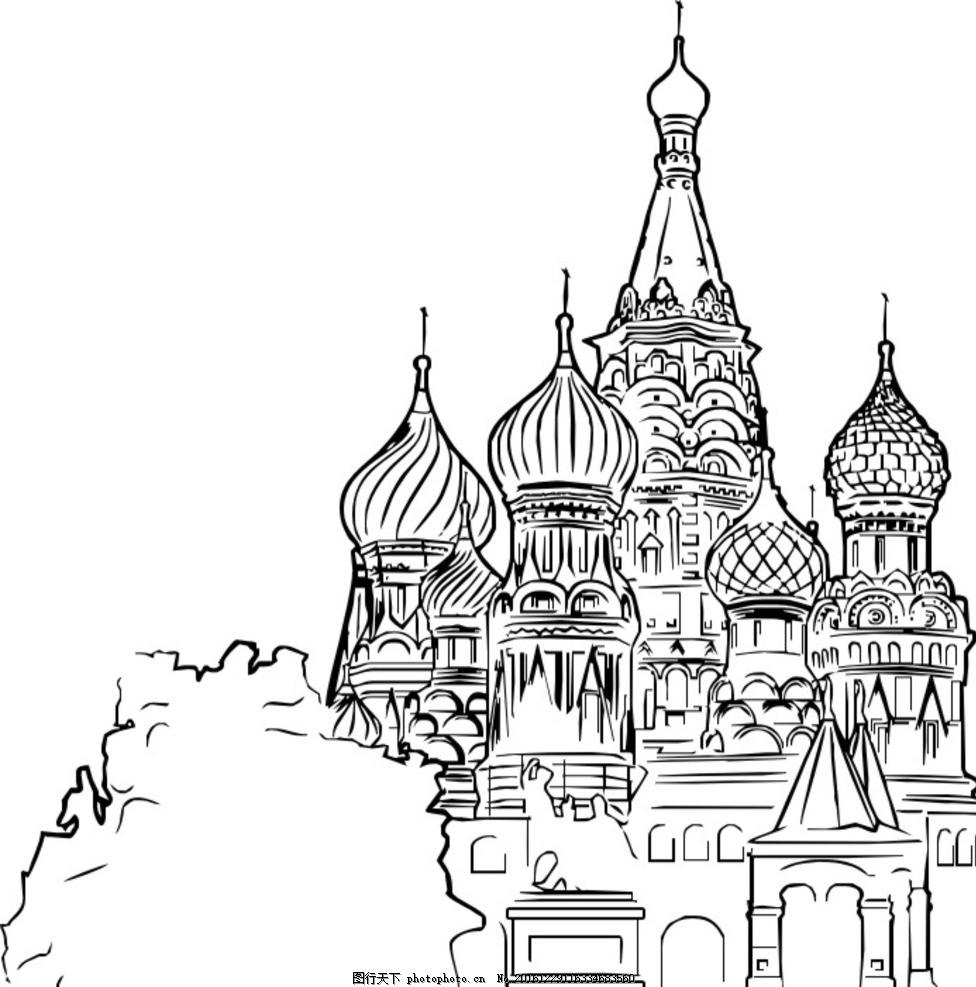 古堡 城堡 黑白 矢量图 建筑 手绘 欧式 中世纪 自然 建筑 设计 文化