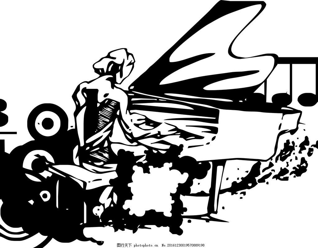钢琴 弹奏着 音符 矢量图 黑白 手绘 人物