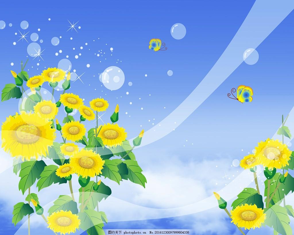 向日葵花卉背景墙,高清大图 空间建筑 装饰设计 风景