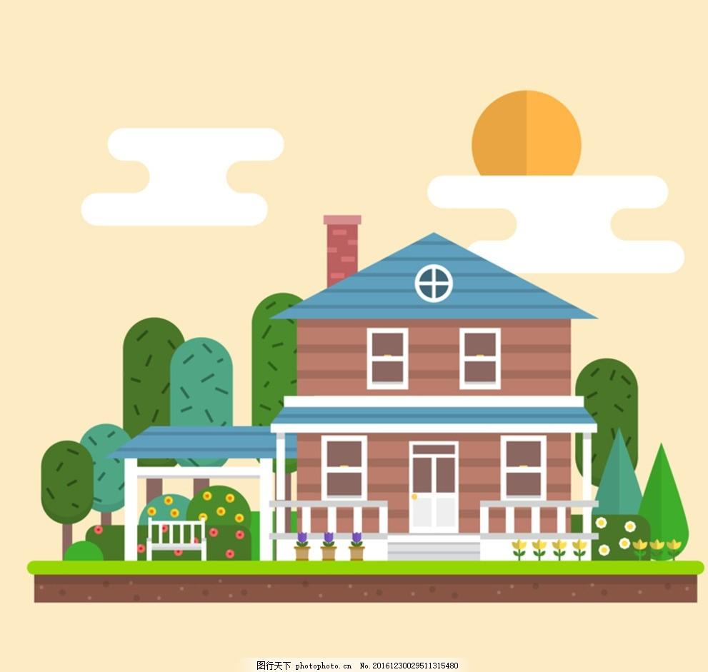 卡通房屋 房子 矢量房子 卡通房子 农家院 别墅 建筑 木屋 树 卡通