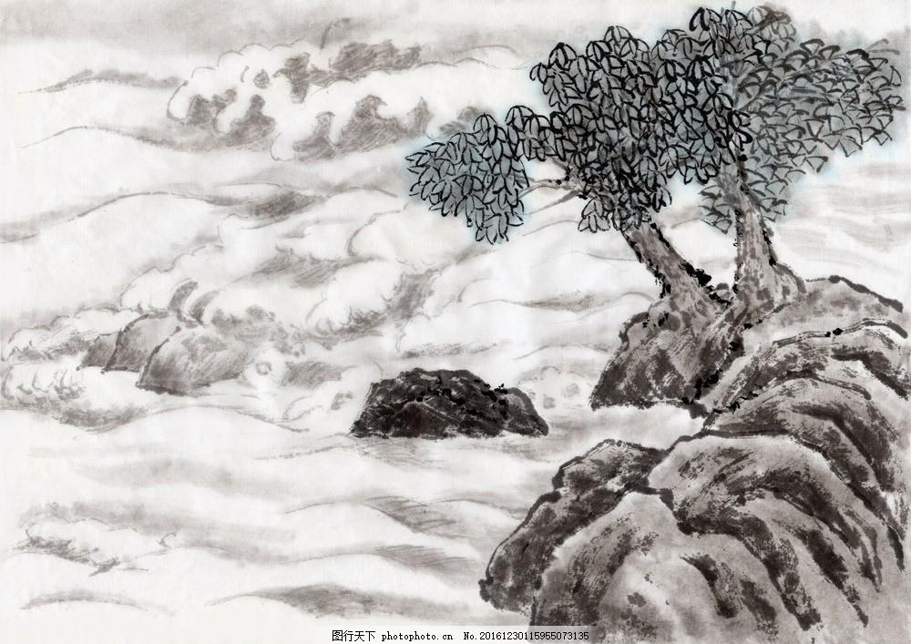 山水油画背景 山水油画背景图片素材 国画 手绘 插画 装饰画 无框画