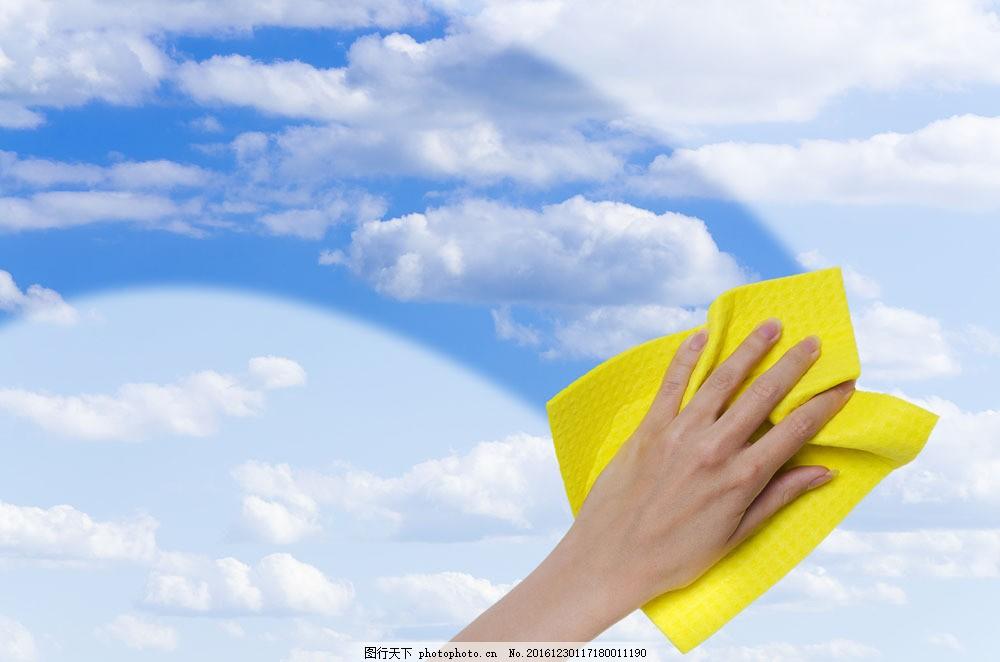 擦玻璃蓝天白云图片素材 擦窗户玻璃 擦窗子 蓝天白云 清洁卫生 打扫