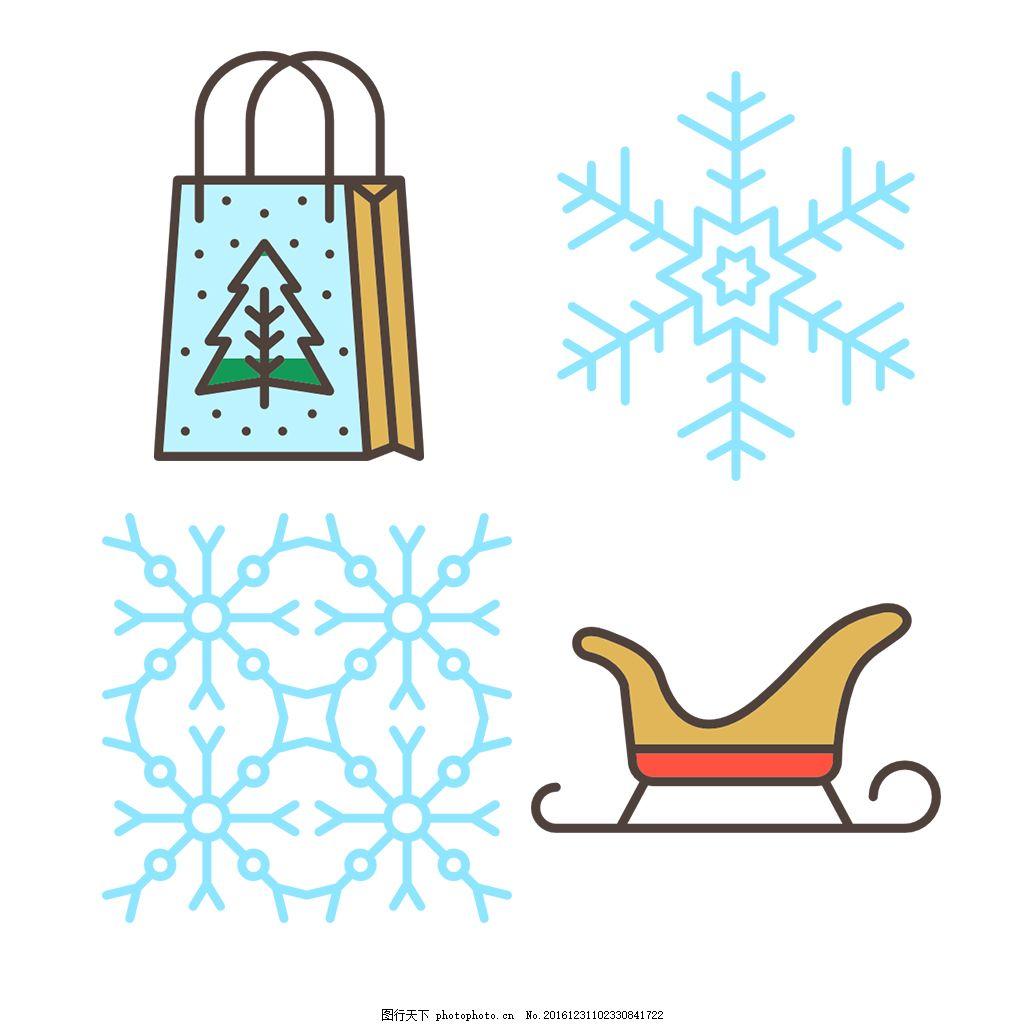 手绘精美圣诞icon图标 填充 线性 扁平 单色 多色 简约 可爱