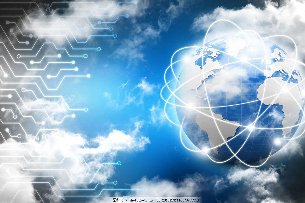 电路与地球背景图片