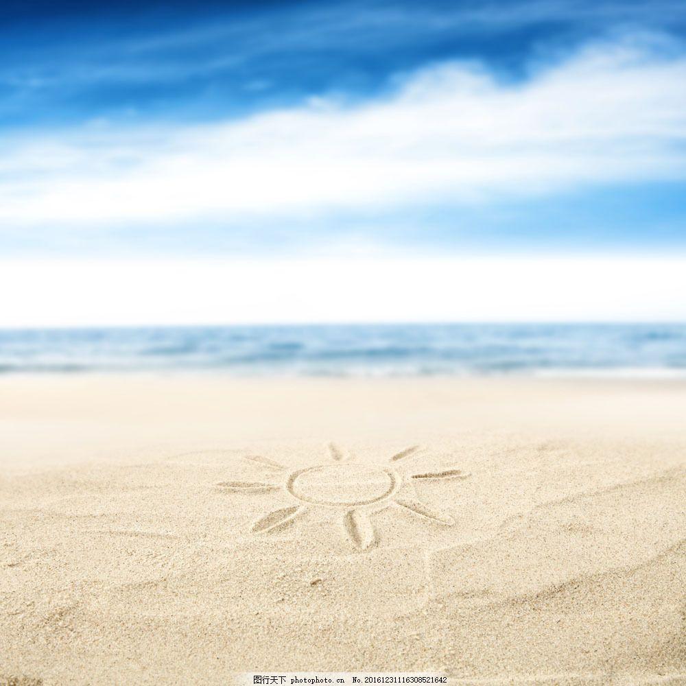 太阳 海洋生物 沙滩 海滩 沙子 夏日海洋风景 海洋海边 大海图片 风景