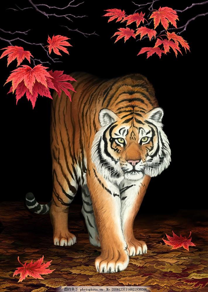 树叶与老虎 树叶与老虎图片素材 枫叶 秋天叶子 动物摄影 动物世界