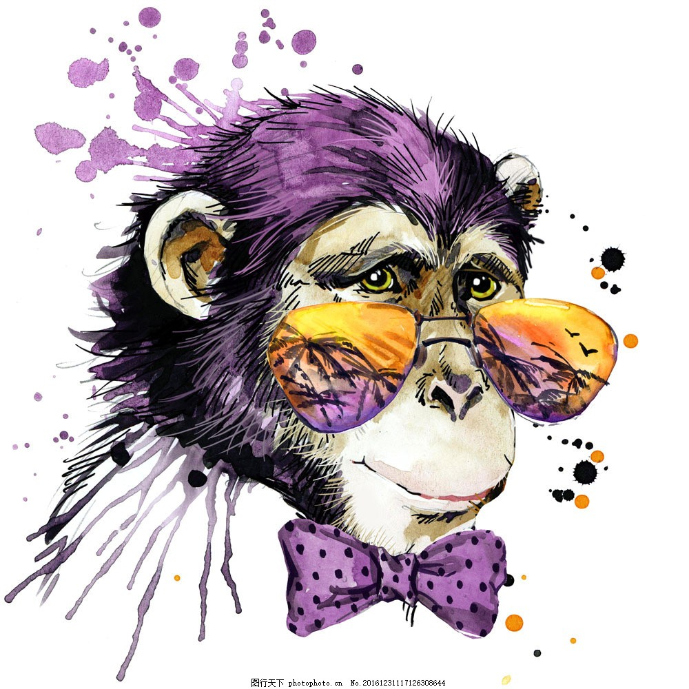 水墨戴眼镜的猴子图片素材 水墨 猴子 水墨动物 漫画动物 卡通动漫