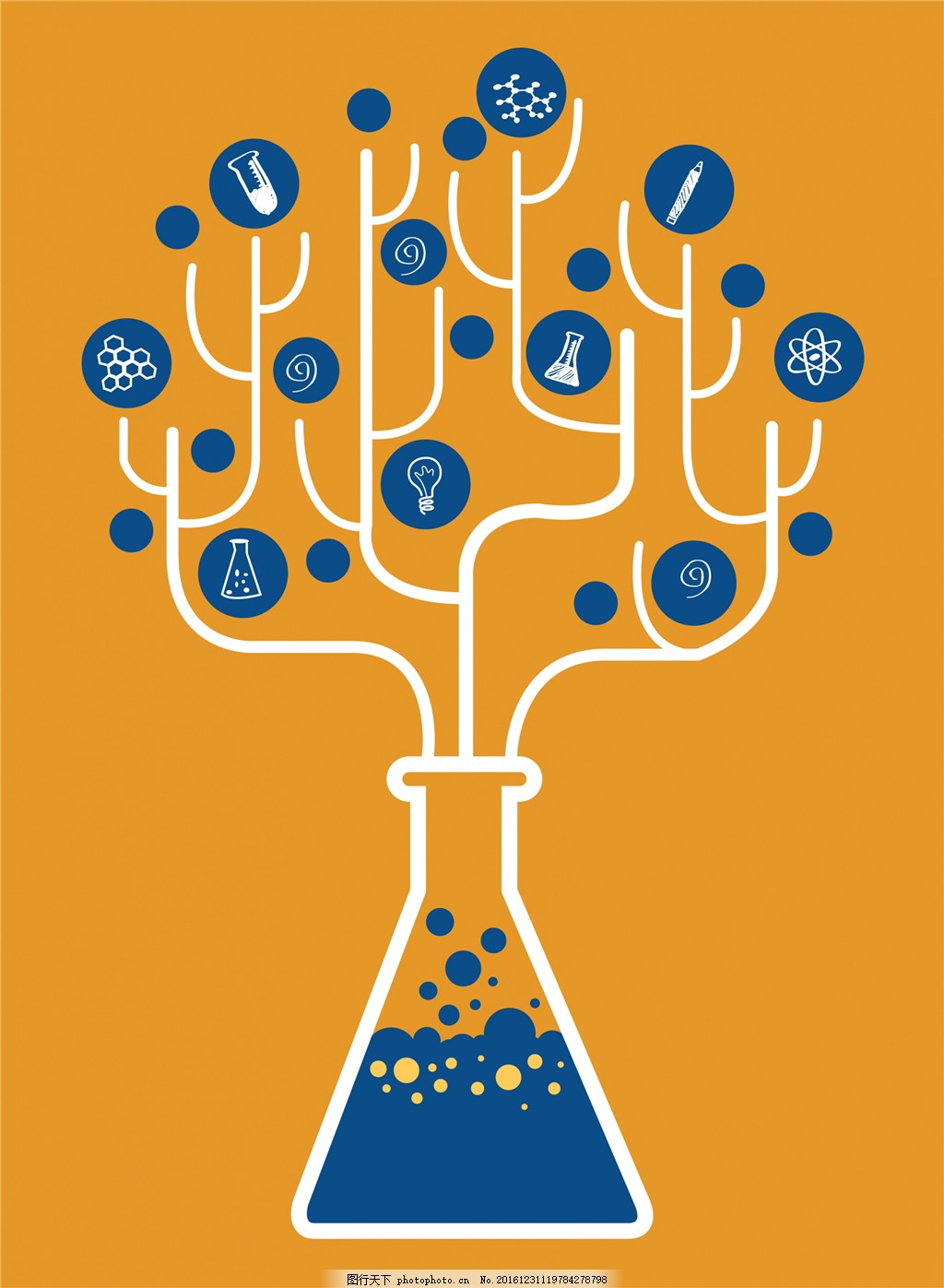 化学创意树设计 实验室 瓶 背景 化学瓶 灯泡 试管
